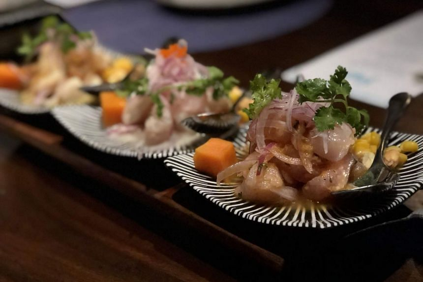 A sharing platter of ceviches - a South American seafood dish - served to ST reporter Jose Hong on Tuesday (May 29) at the Shangri-La at the Fort, Manila, as part of a tour to show how the Philippine capital is on the rise.