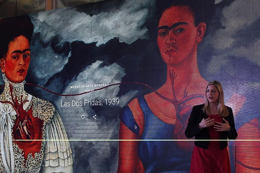 Luisella Mazza, director of operations of Google, presents the Faces Of Frida exhibition in Mexico City, Mexico, on May 23, 2018.