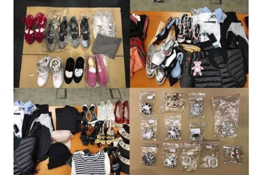 Items seized by the police include footwear, apparels, bags, caps and accessories, with an estimated street value of about $77,000.