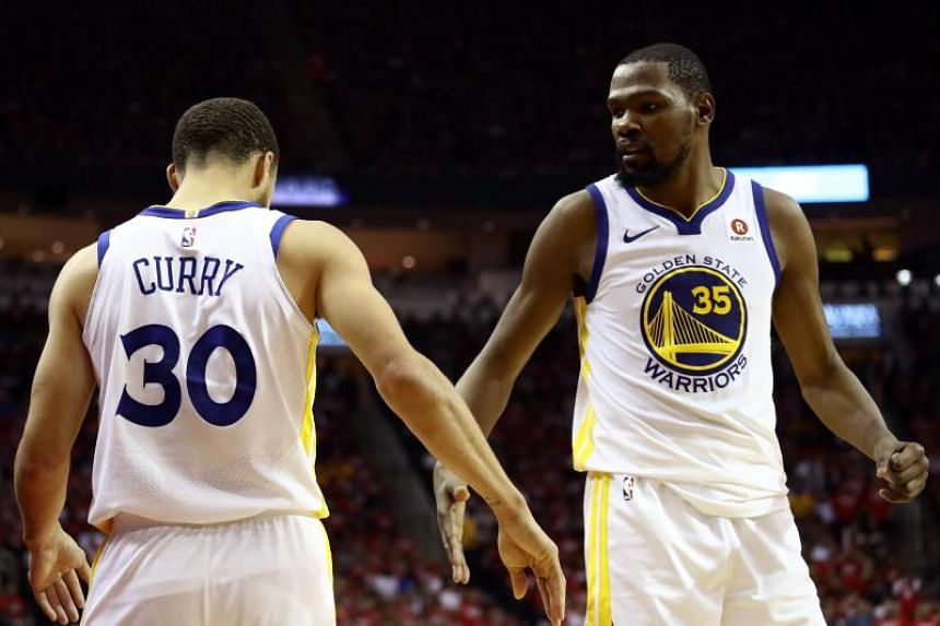 Stephen Curry scored 27 points with Kevin Durant adding 34, as the  Golden State Warriors  advanced to an unprecedented fourth NBA Finals meeting in a row against the Cleveland Cavaliers.