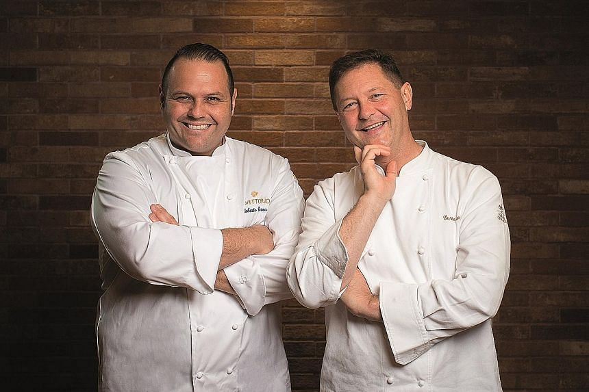 Italian restaurant Fratelli's celebrity chefs Roberto (far left) and Enrico Cerea will serve up their speciality dishes to lucky ST readers.