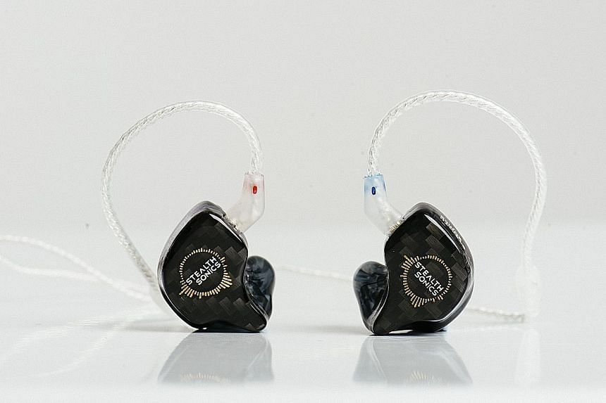 Made from a smooth, polished acrylic, the C9 earphones (above) have excellent transient bass response.