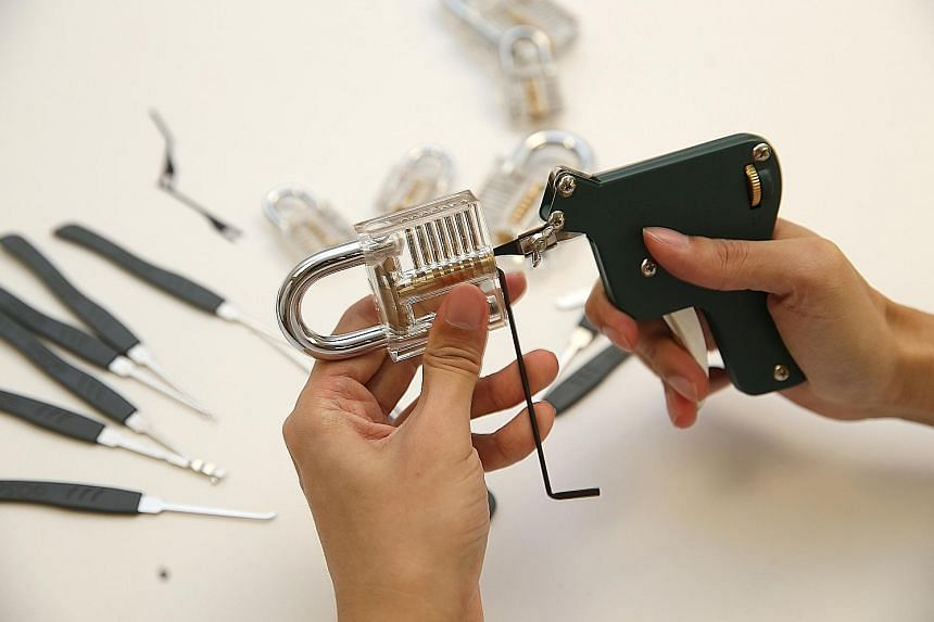 The tools for locksport typically include a transparent practice padlock and an array of lock-picking hooks. Sometimes, a lockpick gun is also used. Mr Zach Goh shows how a lock can be picked by using a tension wrench and a lockpick gun to ease open
