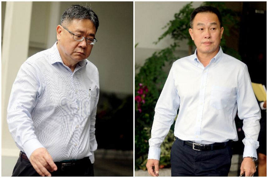 Leong Sow Hon (left), a top executive from Calibre Consulting Singapore, and Or Kim Peow Contractors group managing director Or Toh Wat were charged on May 30, 2018.