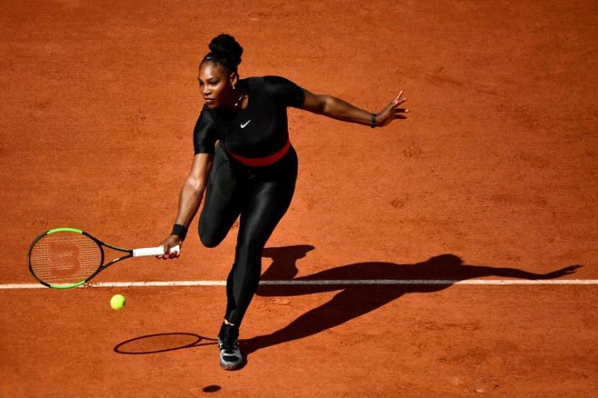 Serena Williams of the US plays a forehand return to Czech Republic's Kristyna Pliskova during their women's singles first round match on day three of The Roland Garros 2018 French Open tennis tournament in Paris, on May 29, 2018.