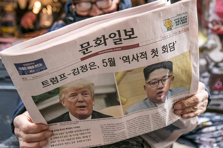 The summit between US President Donald Trump (left) and North Korean leader Kim Jong Un dominated the front pages on most days this week in Seoul and Tokyo.
