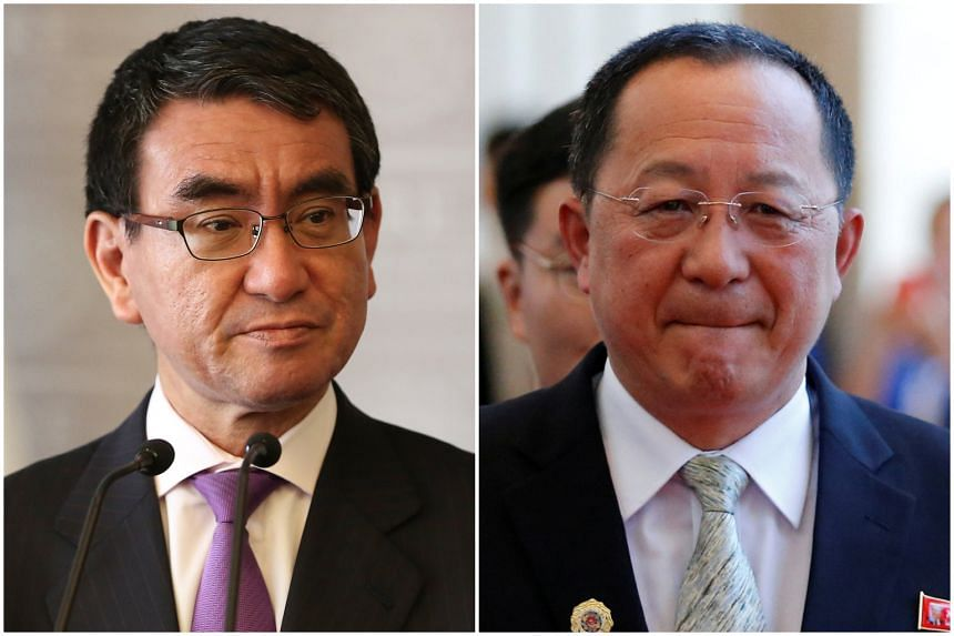 Tokyo has conveyed its interest in talks between Japanese Foreign Minister Taro Kono (left) and his North Korean counterpart Ri Yong Ho.
