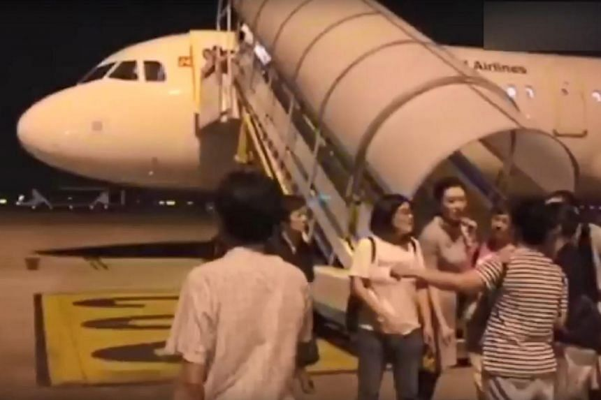 An in-flight announcement said the plane was experiencing turbulence, but according to an explanatory note from the airline, the flight was cancelled due to mechanical failure.