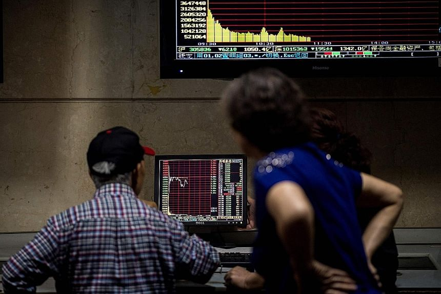 From left: Stock markets in Shanghai, South Korea and Tokyo slumped as the brewing Italian political storm hammered regional bourses. On the foreign exchange front, the euro continued its tumble against the Singapore dollar and greenback. Comparing I
