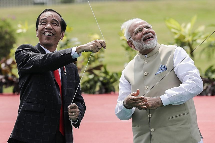 Mr Joko and Mr Modi flying kites to mark the 70 years of diplomatic ties next year, in a symbolic gesture of hope for ties to scale new heights.