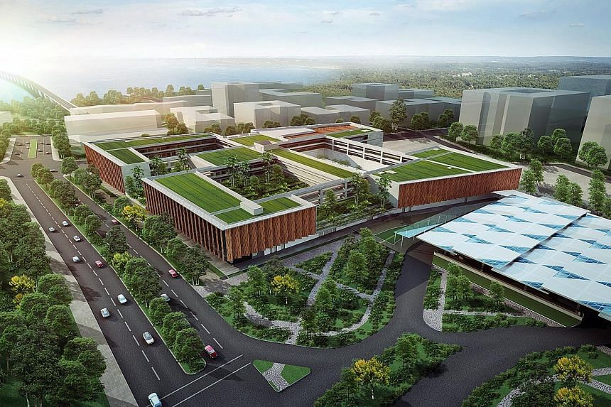 An artist's impression of the upcoming Woodlands North Station, part of the Rapid Transit System Link between Johor Baru and Singapore.