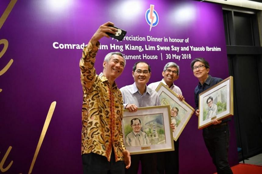 (From left) Prime Minister Lee Hsien Loong with retired ministers former Trade and Industry Minister Lim Hng Kiang, former Communications and Information Minister Yaacob Ibrahim and former Manpower Minister Lim Swee Say.
