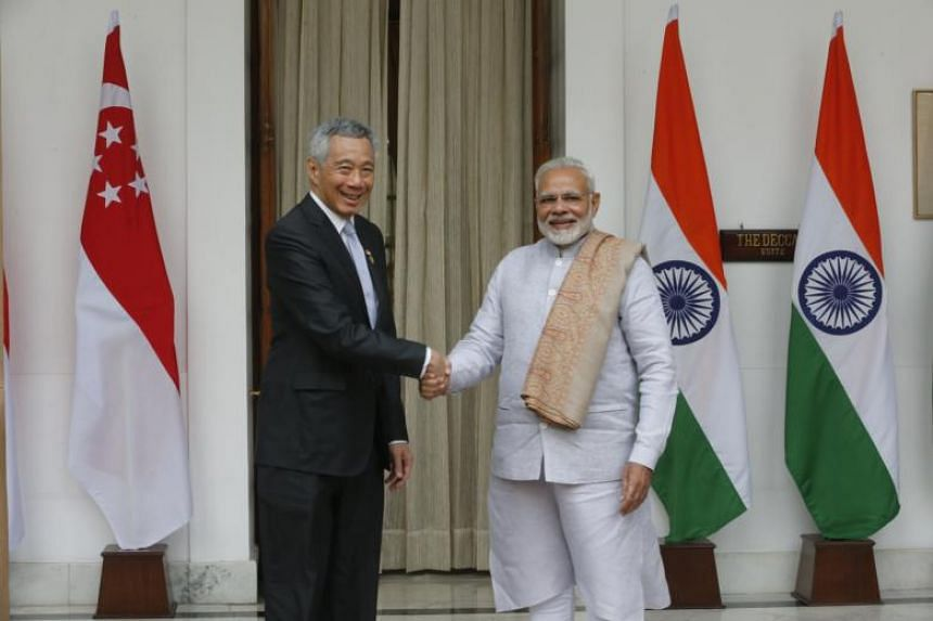 Indian Prime Minister Narendra Modi (right) with Prime Minister Lee Hsien Loong at Hyderabad House in New Delhi during a bilateral meeting on Jan 25, 2018. Mr Modi will begin a three-day official visit to Singapore on May 31, 2018.