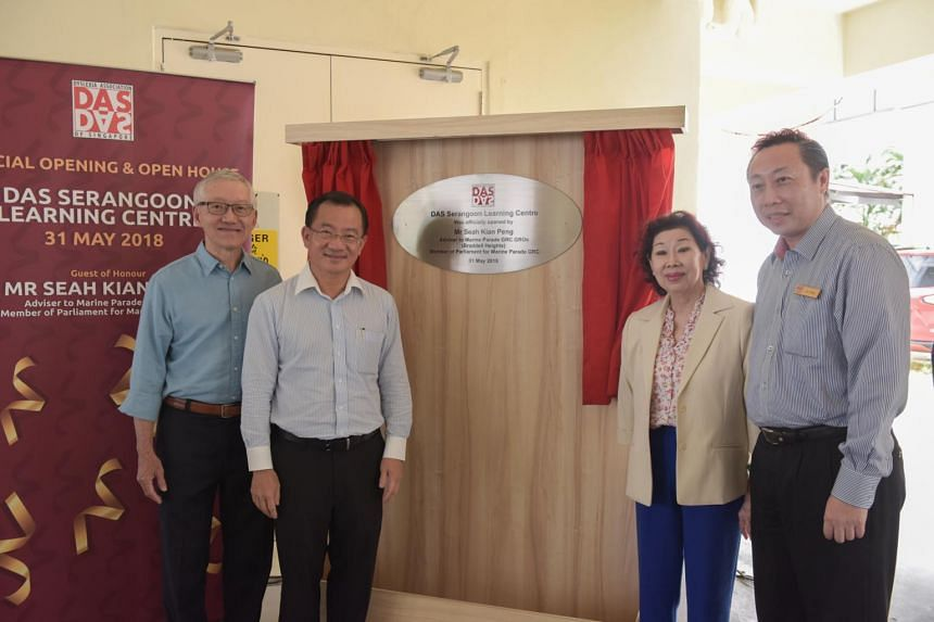 (From left) DAS president Eric Lee, Member of Parliament for Marine Parade GRC Seah Kian Peng, Mrs Goh Chok Tong and Chief Executive Officer of DAS Lee Siang at the opening of the Dyslexia Association of Singapore Serangoon Learning Centre.