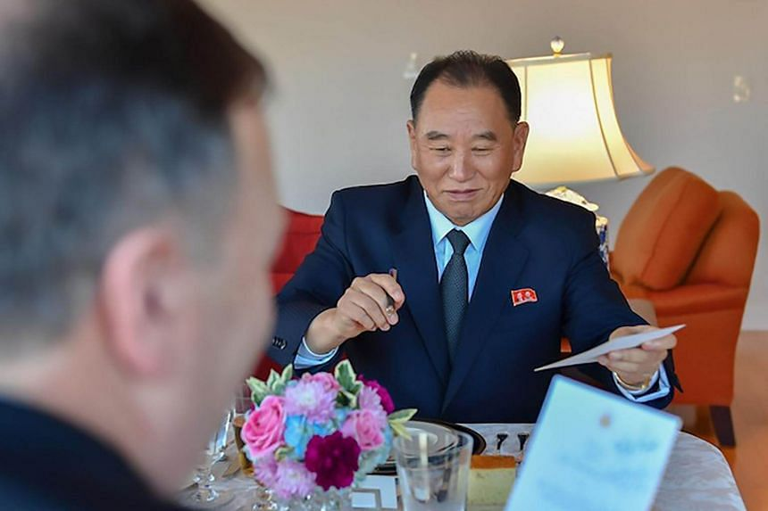 North Korean envoy Kim Yong Chol at his dinner meeting with US Secretary of State Mike Pompeo (left) in New York, on May 30, 2018.