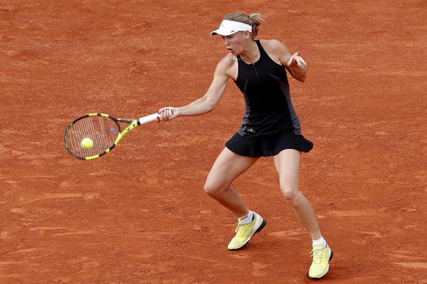 Caroline Wozniacki of Denmark plays Georgina Garcia Perez of Spain during their women's second round match during the French Open tennis tournament at Roland Garros in Paris, France, on May 30, 2018.
