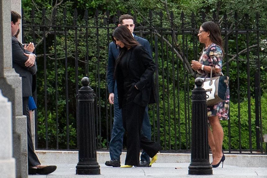 Kim Kardashian West entering the grounds of the White House in Washington, DC, on May 30, 2018.