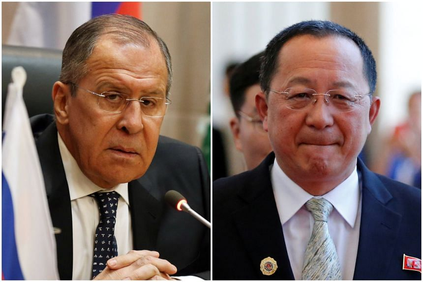 Foreign Minister Sergey Lavrov (left) will meet his North Korean counterpart Ri Yong Ho to discuss bilateral relations and pressing international issues.