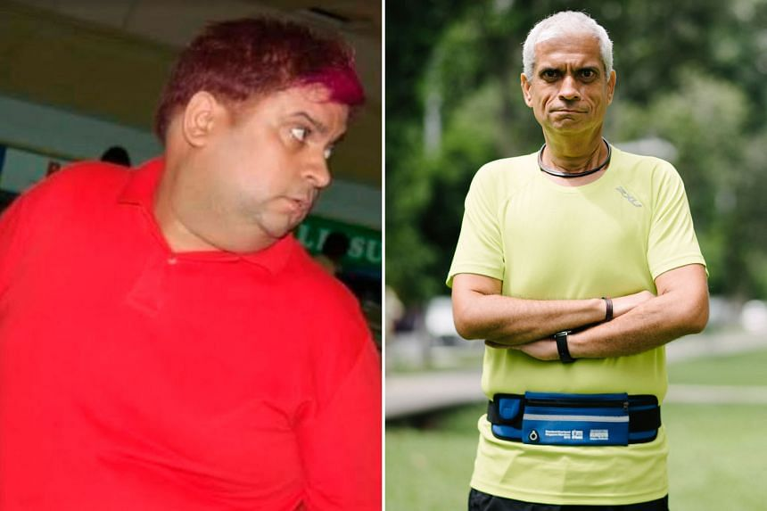 Nel Tulsiani, who once weighed 140kg at his heaviest (left) now tips the scales at just 67kg as he wears the exclusive runners' belt.