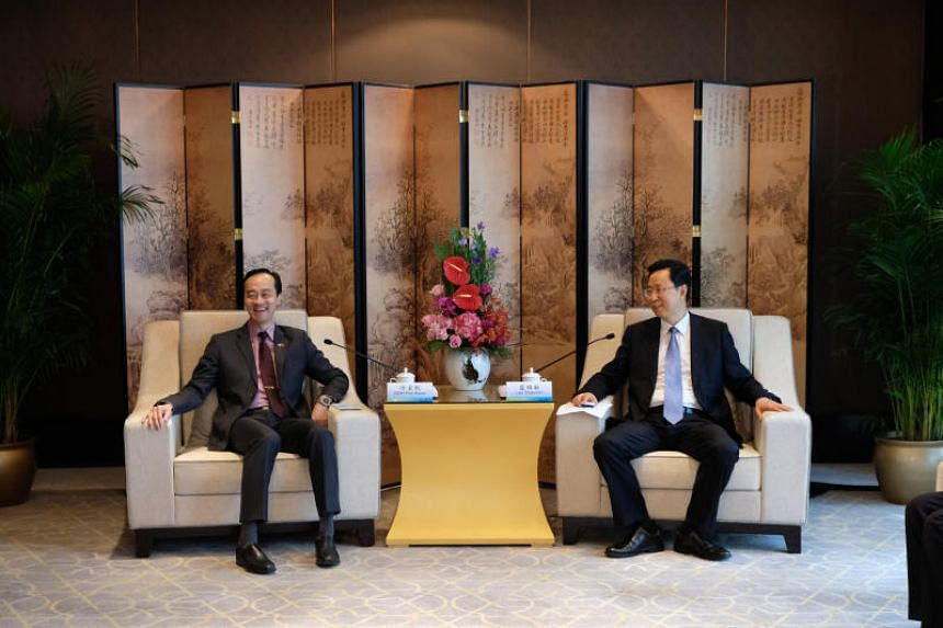 Senior Minister of State for Trade and Industry Koh Poh Koon (left) witnessed the signing of the MOUs together with Nanjing mayor Lan Shaomin.