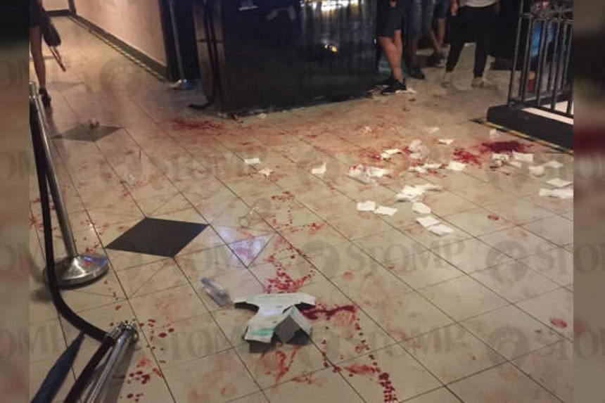 Trails of blood were seen on the floor outside the Icon II nightclub in Parklane Shopping Mall.