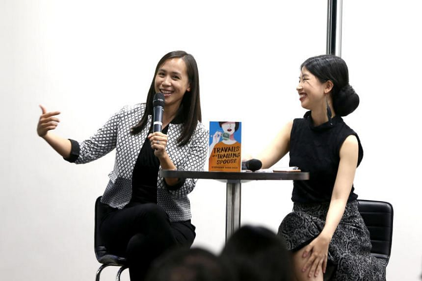 Author Stephanie Suga Chen (left), author of Travails Of A Trailing Spouse, speaking at The Straits Times Book Club.