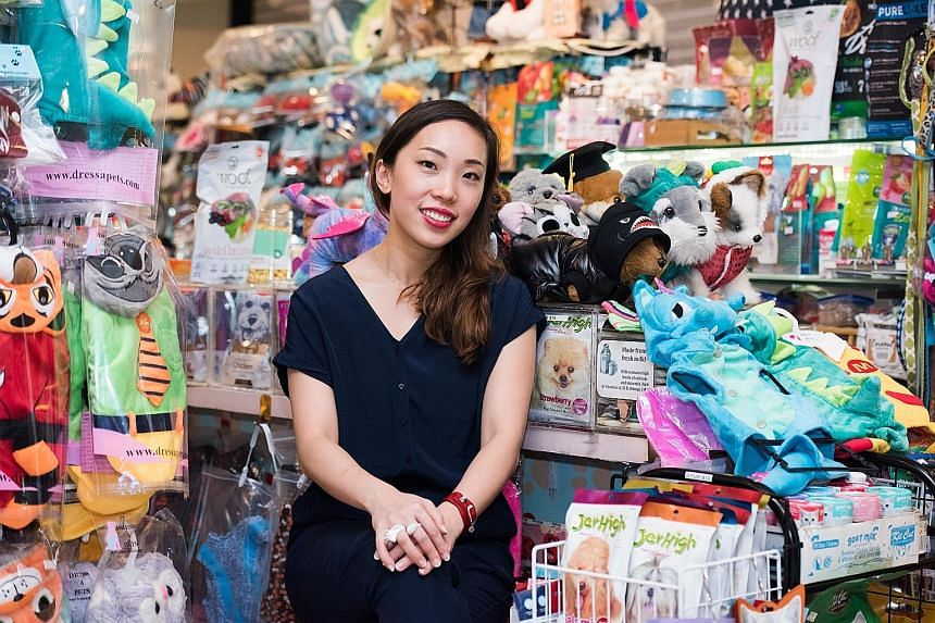 Co-founder Serene Tan (above) started Dress A Pet in 2012 with her brother because of their shared love of animals and pet costumes. The store carries items such as tiny shirts for rabbits (right) and knitted vests for turtles.