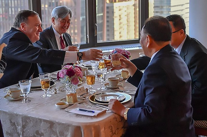 General Kim Yong Chol (at left) during his dinner meeting with US Secretary of State Mike Pompeo (far left) on Wednesday in New York. The right-hand man of North Korean leader Kim Jong Un arrived in New York on an Air China flight from Beijing, becom