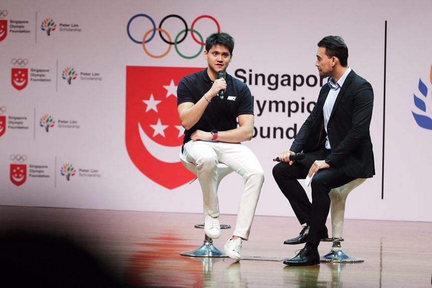 Joseph Schooling answers questions during the Singapore Olympic Foundation-Peter Lim Scholarship ceremony at ITE College Central, on June 1, 2018.
