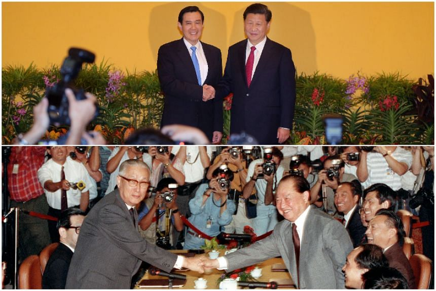 In 2015, Singapore hosted a historic meeting between then-Taiwan president Ma Ying-jeou (top left) and Chinese President Xi Jinping. Back in 1993, Singapore was also the venue for the meeting between Taiwan's Koo Chen-fu (bottom left) and China's Mr