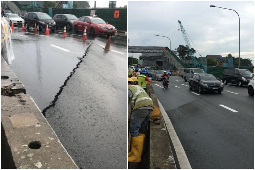 The Land Transport Authority (LTA) said the it discovered the cracks at 8am along a stretch of Adam Road after the MacRitchie Flyover. The lanes were reopened at about 10am, said an LTA spokesman.