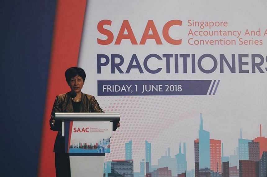Minister in the Prime Minister's Office Indranee Rajah gives the keynote address at the Practitioners Conference on June 1, 2018.