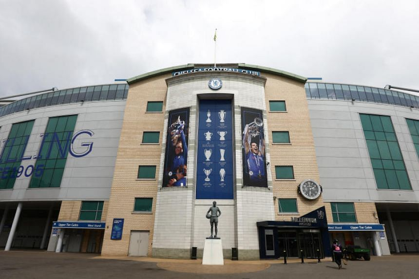 A statue of Peter Osgood can be seen outside Chelsea's Stamford Bridge football stadium in London, Britain, on May 31, 2018.