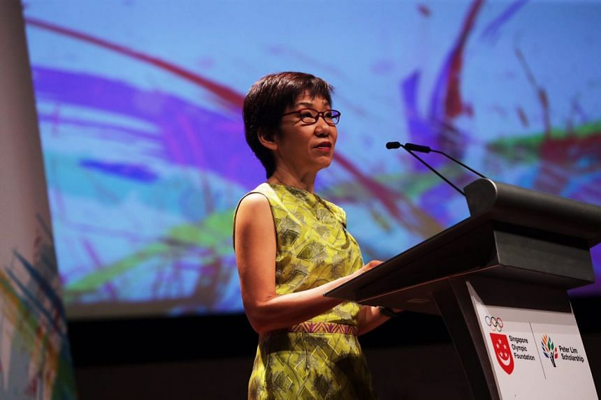 Minister for Culture, Community and Youth Grace Fu speaks at the Singapore Olympic Foundation (SOF)-Peter Lim Scholarship ceremony at the ITE College Central on June 1, 2018.