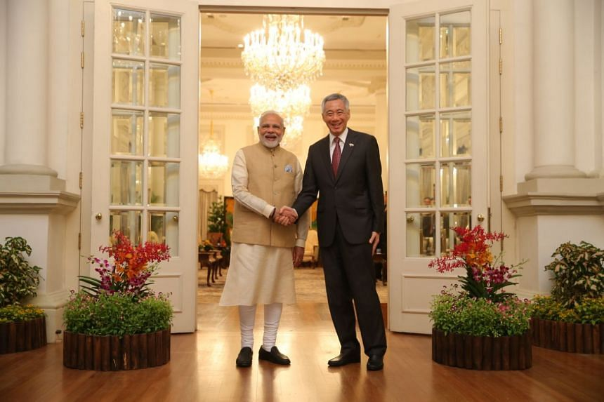 Prime Minister Lee Hsien Loong and visiting Indian Prime Minister Narendra Modi during their meeting at the Istana on June 1, 2018.