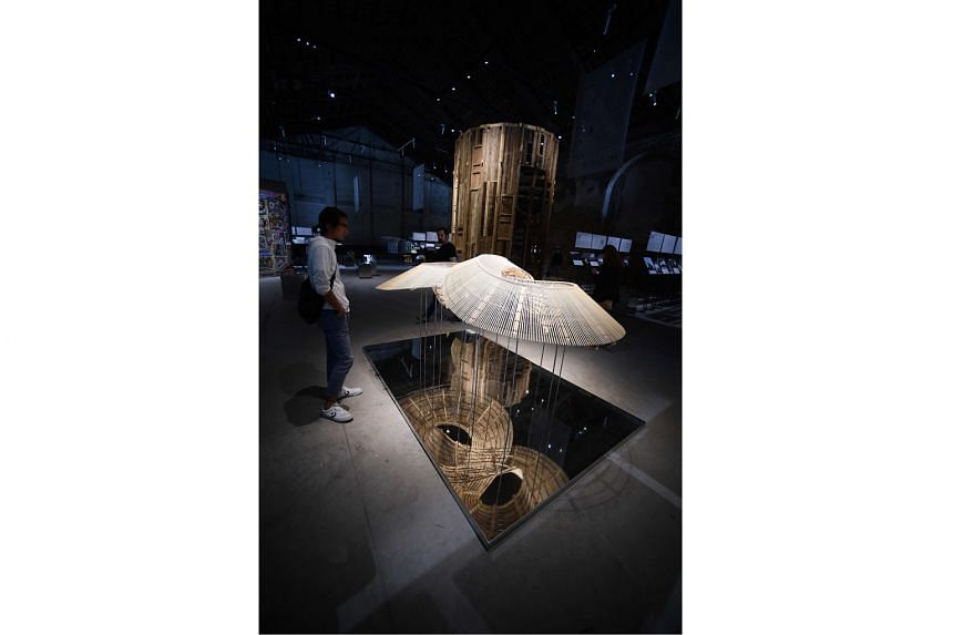 A bamboo installation (above) at Building A Future Countryside, China's pavilion.