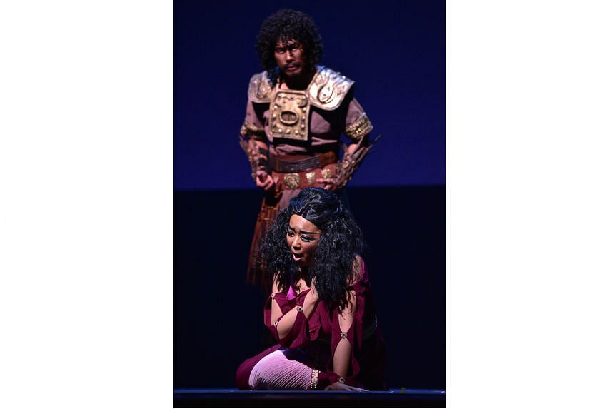 Set in ancient Egypt, Aida boasts a big set with lush costumes as well as a big cast, including Martin Ng and Jee-Hye Han (both above).