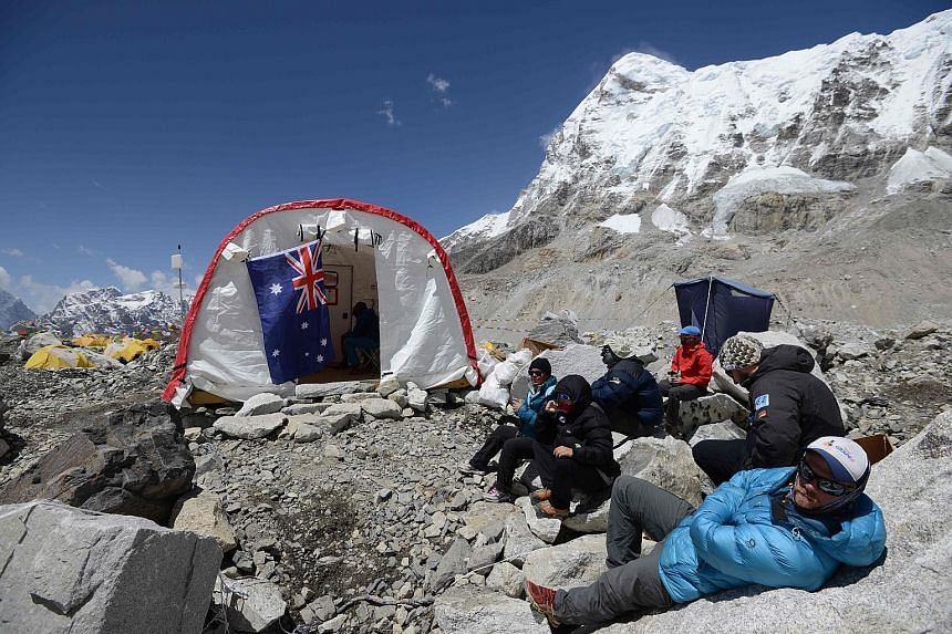 Patients waiting to see a doctor at the ER tent clinic at Everest Base Camp in Nepal. Set up by an American doctor and now run by the Nepal-based Himalayan Rescue Association, the clinic charges foreign climbers for treatment and in return provides s