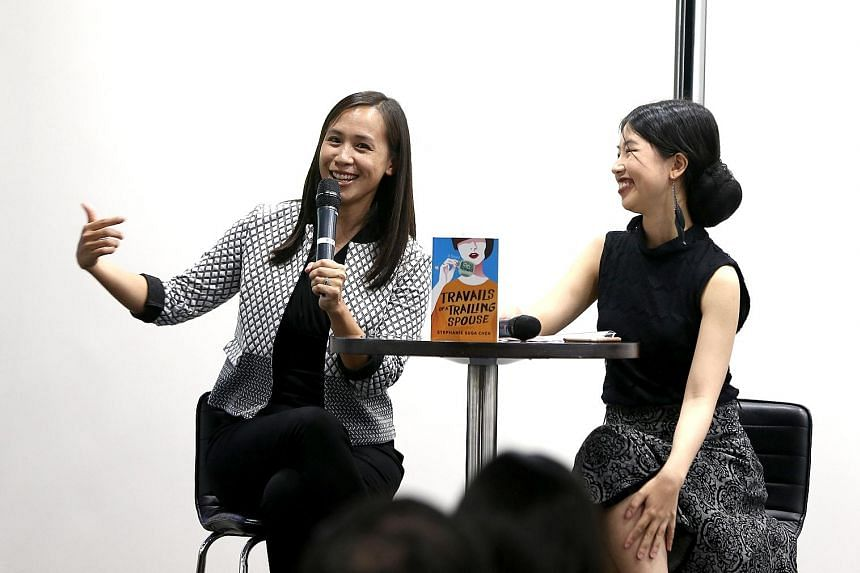 Author Stephanie Suga Chen (left) at the Straits Times Book Club discussion with moderator Olivia Ho.