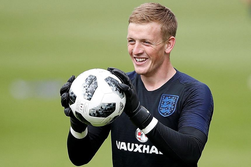 Jordan Pickford of Everton is one of the three internationally inexperienced goalkeepers aiming to be England's No. 1 at the World Cup.