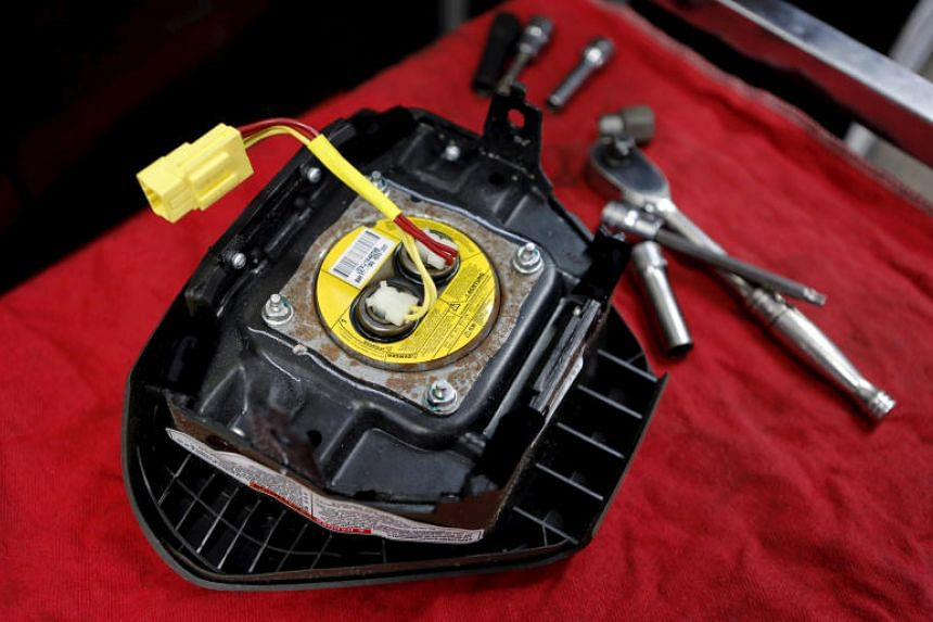 A recalled Takata airbag inflator is shown in Miami, Florida, on June 25, 2015.