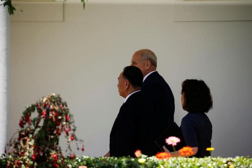 North Korean envoy Kim Yong Chol walks with White House Chief of Staff John Kelly as he arrives to deliver a letter to US President Donald Trump at the White House in Washington, on June 1, 2018.