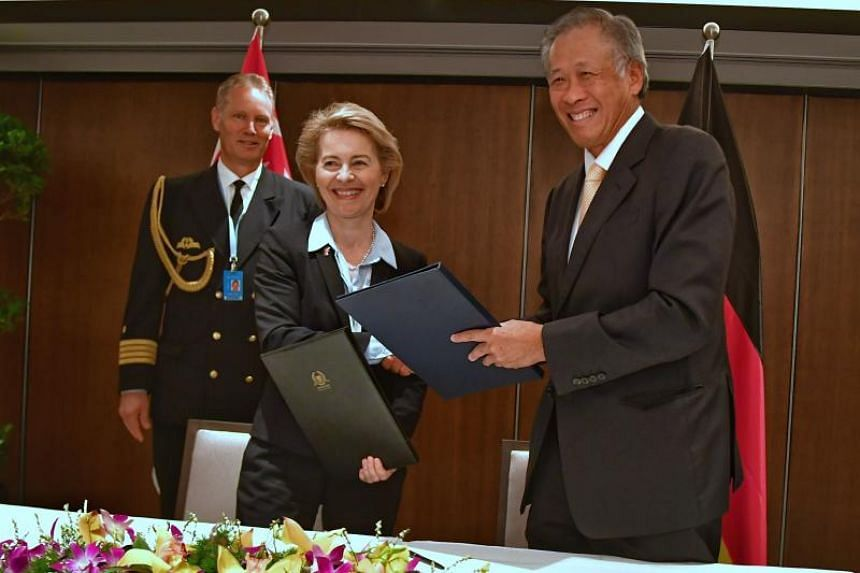 Defence Minister Ng Eng Hen and his German counterpart Ursula von der Leyen signed an enhanced Defence Cooperation Agreement on the sidelines of the ongoing Shangri-La Dialogue on June 2, 2018.