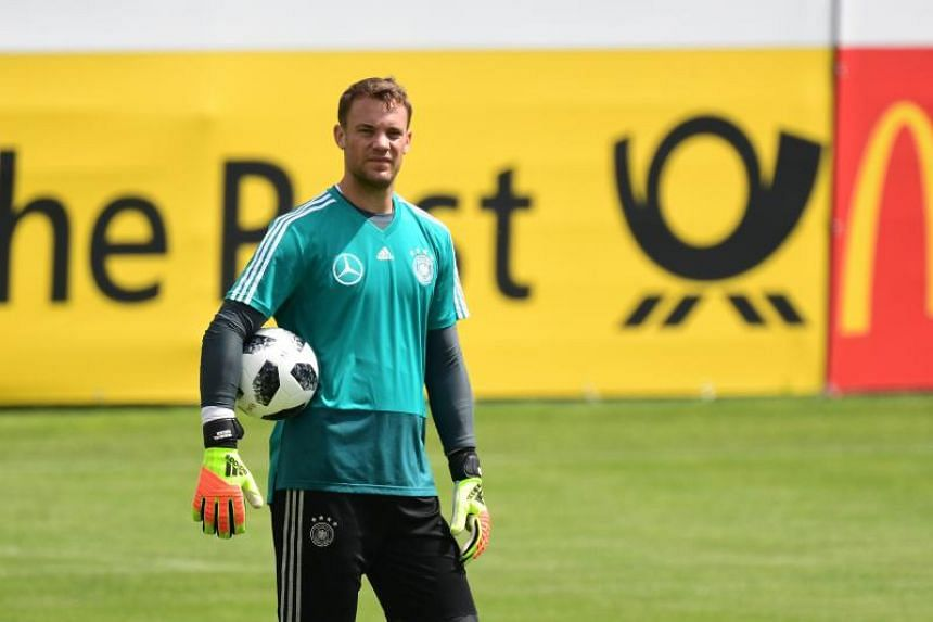 Germany's goalkeeper Manuel Neuer attends a training session in Girlan, Italy, on May 31, 2018.