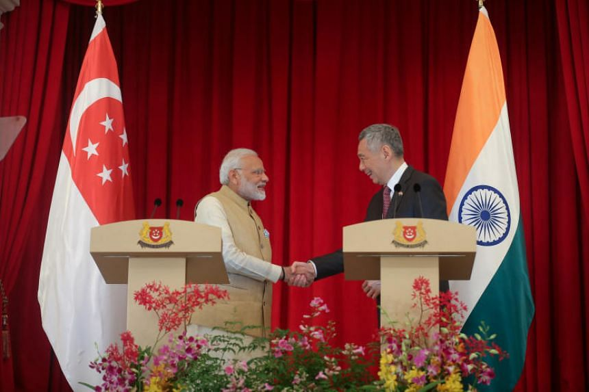 Indian Prime Minister Narendra Modi with Prime Minister Lee Hsien Loong at the Istana on Friday, June 1, 2018.
