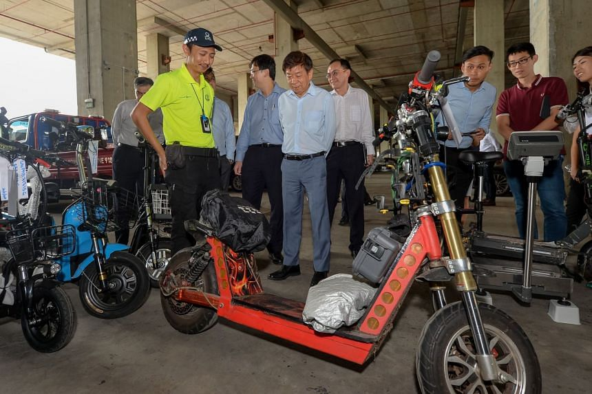 Transport Minister Khaw Boon Wan shared photos of the illegal e-scooter and other impounded devices on his Facebook page.