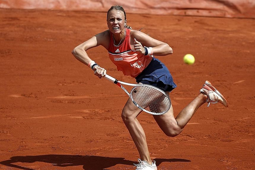 Anett Kontaveit of Estonia on her way to beating eighth seed and two-time Wimbledon champion Petra Kvitova 7-6 (8-6), 7-6 (7-4) in the third round yesterday.