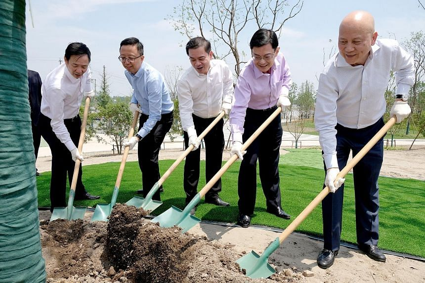 Finance Minister Heng Swee Keat (second from right) planting a young beech tree at the Singapore-Nanjing Eco Hi-Tech Island (SNEHTI) yesterday along with (from left) Mr Zhong Shengjian, chairman of SNEHTI Development; Singapore's Consul-General in Sh