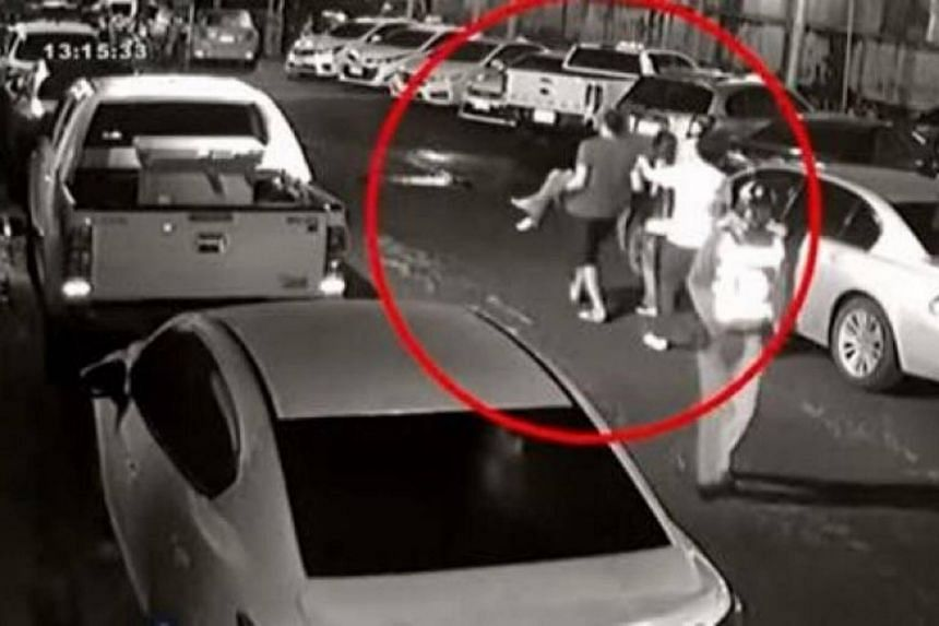 A CCTV camera recording showed four men carrying the unconscious victim out of the Orbit Pub in Muang Chanthaburi and placing her in the back of a pickup truck that sped away.