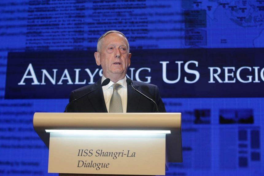 US Secretary of Defence James Mattis speaking during the first plenary session of the International Institute for Strategic Studies (IISS) 17th Asia Security Summit in Singapore.